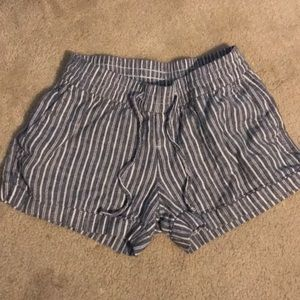 White and blue striped shorts